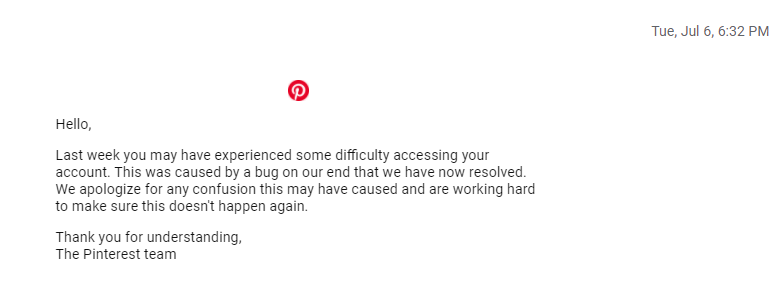 pinterest apology account suspended
